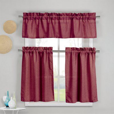 Duck River Benneton 3 Piece Kitchen Curtain Set Wine – Bekwn In Lemon Drop Tier And Valance Window Curtain Sets (View 6 of 25)