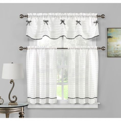 Duck River Carlee Kitchen Valance In White Silver – 15 In (View 2 of 25)