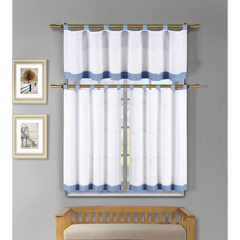 Duck River Tatum Microfiber 3 Piece Kitchen Curtain Set For Microfiber 3 Piece Kitchen Curtain Valance And Tiers Sets (View 13 of 25)