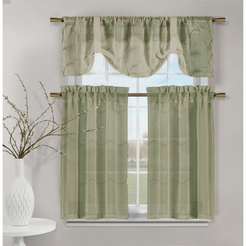 Duck River Videira Leaf Embroidered 3 Piece Kitchen Curtain Intended For Semi Sheer Rod Pocket Kitchen Curtain Valance And Tiers Sets (Image 10 of 25)