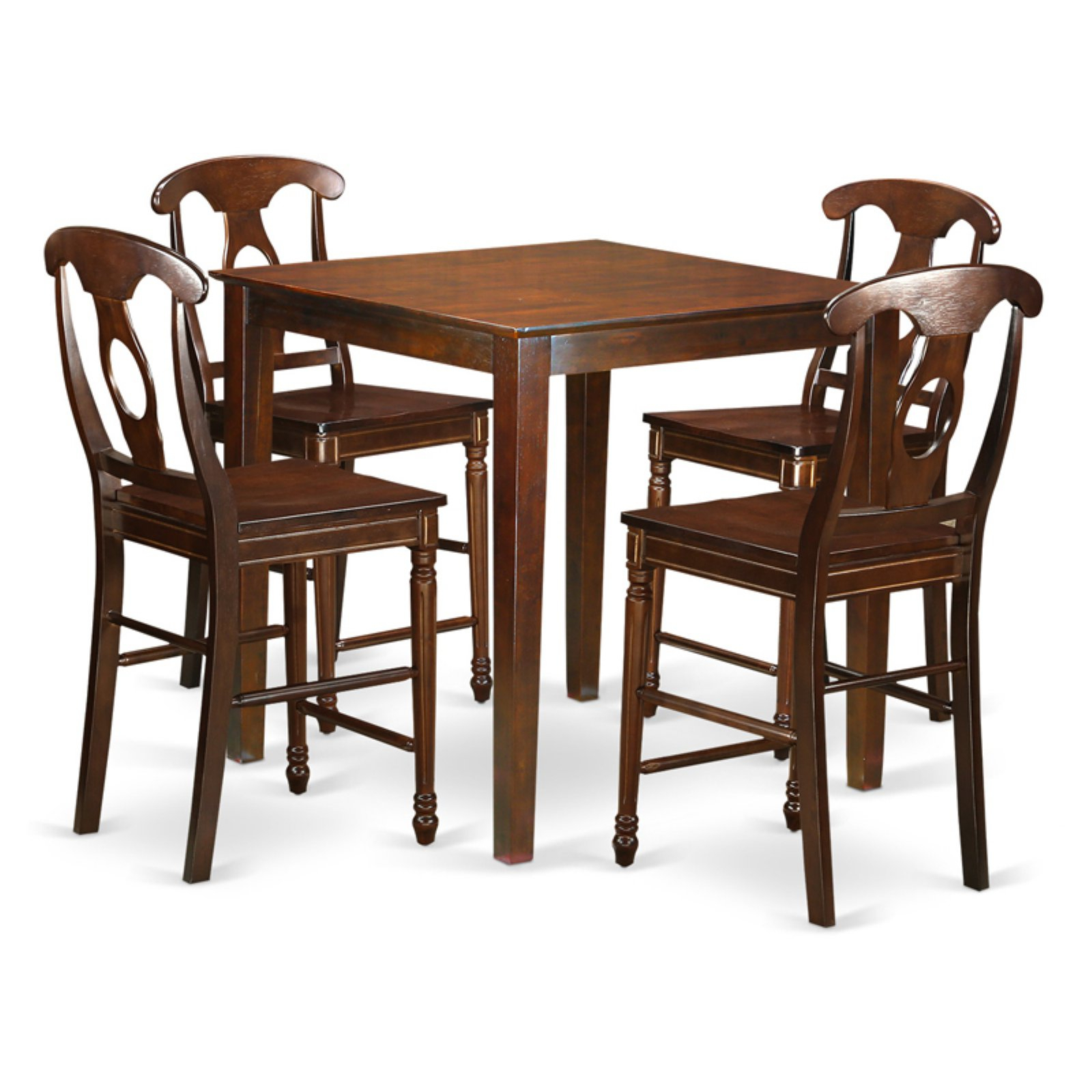 East West Furniture Vernon 5 Piece Keyhole Dining Table Set Intended For Most Current Benchwright Counter Height Tables (View 24 of 25)