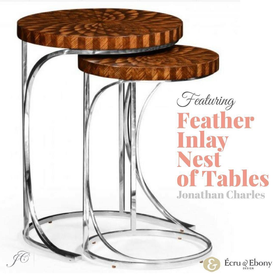 Ecru And Ebony Design Product Spotlightfeather Inlay Nest Throughout Most Current Icarus Round Bar Tables (View 9 of 25)