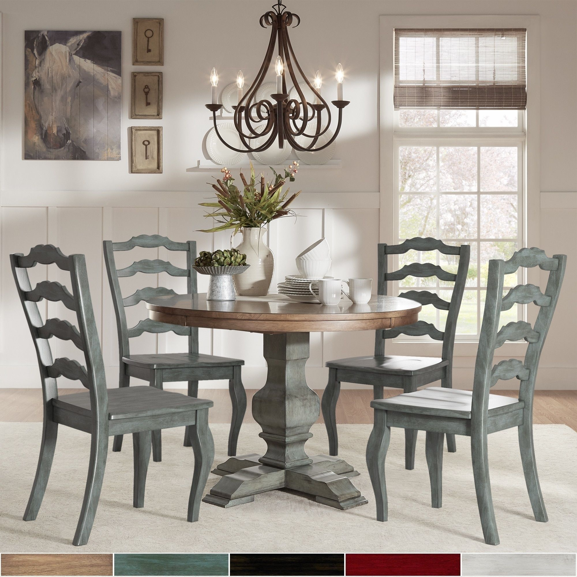 Eleanor Sage Green Round Solid Wood Top Ladder Back 5 Piece Throughout Most Popular Gray Wash Livingston Extending Dining Tables (View 11 of 25)