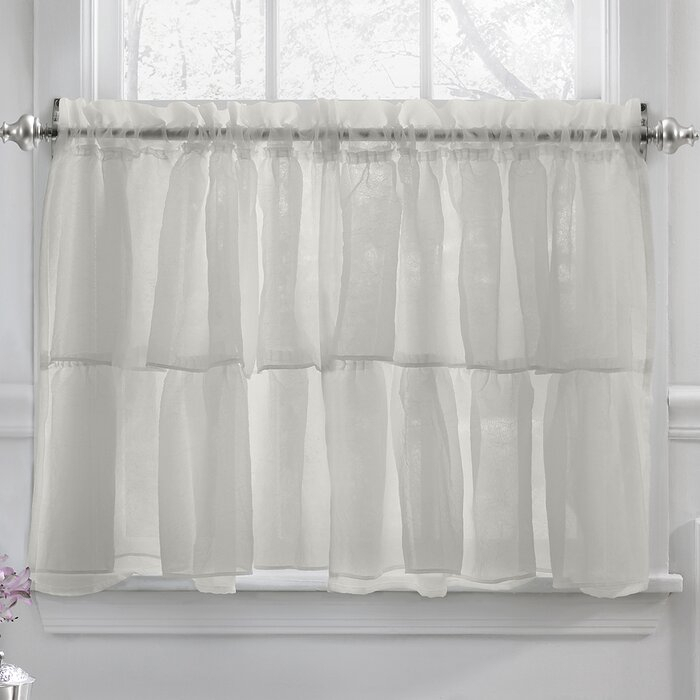 Elegant Crushed Voile Ruffle Kitchen Window Tier Cafe Curtain Inside Pintuck Kitchen Window Tiers (View 22 of 25)