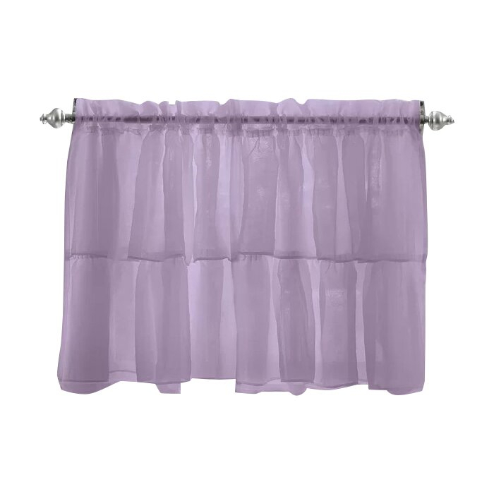 Elegant Crushed Voile Ruffle Kitchen Window Tier Cafe Curtain Intended For Elegant Crushed Voile Ruffle Window Curtain Pieces (View 11 of 25)