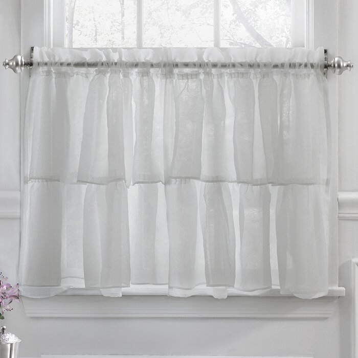 Elegant Crushed Voile Ruffle Kitchen Window Tier Cafe Curtain Throughout Classic Black And White Curtain Tiers (View 5 of 25)