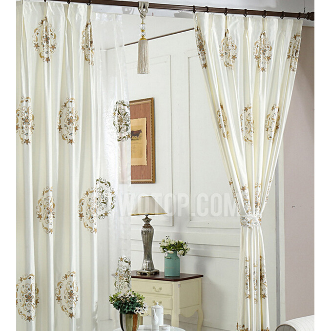 Elegant Ivory Faux Silk Embroidered Floral Pattern Living Pertaining To Floral Embroidered Faux Silk Kitchen Tiers (View 17 of 25)