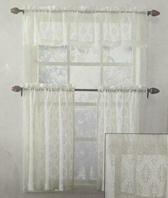 Elegant Ivory Priscilla Lace Kitchen Curtains – Tiers Pertaining To Elegant White Priscilla Lace Kitchen Curtain Pieces (View 19 of 25)