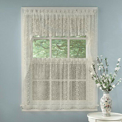 Elegant Ivory Priscilla Lace Kitchen Curtains – Tiers, Tailored Valance Or  Swag | Ebay With Ivory Knit Lace Bird Motif Window Curtain (Image 2 of 25)