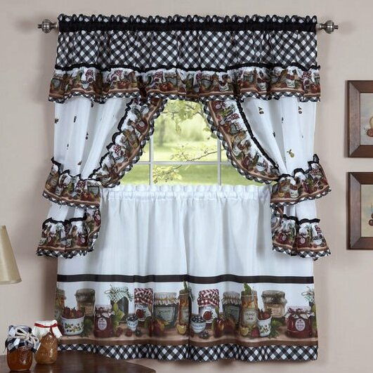 Elegant Kitchen Curtains   Wayfair For Traditional Two Piece Tailored Tier And Swag Window Curtains Sets With Ornate Rooster Print (View 12 of 25)
