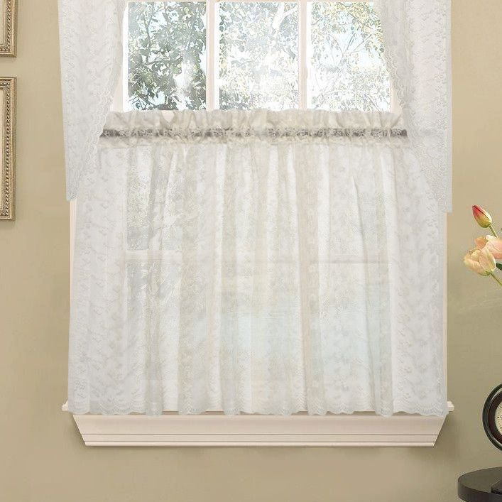 Elegant Priscilla Lace Kitchen Tier Curtain | Products Pertaining To Elegant White Priscilla Lace Kitchen Curtain Pieces (View 9 of 25)