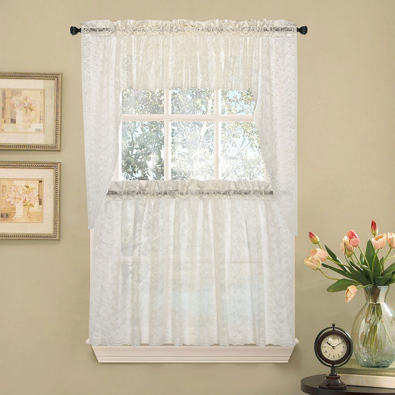 Elegant Priscilla Lace Kitchen Window Treatments | Products For White Tone On Tone Raised Microcheck Semisheer Window Curtain Pieces (Image 9 of 25)