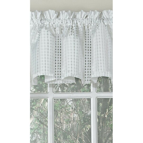 Elegant Window Valance | Wayfair In White Tone On Tone Raised Microcheck Semisheer Window Curtain Pieces (Image 10 of 25)