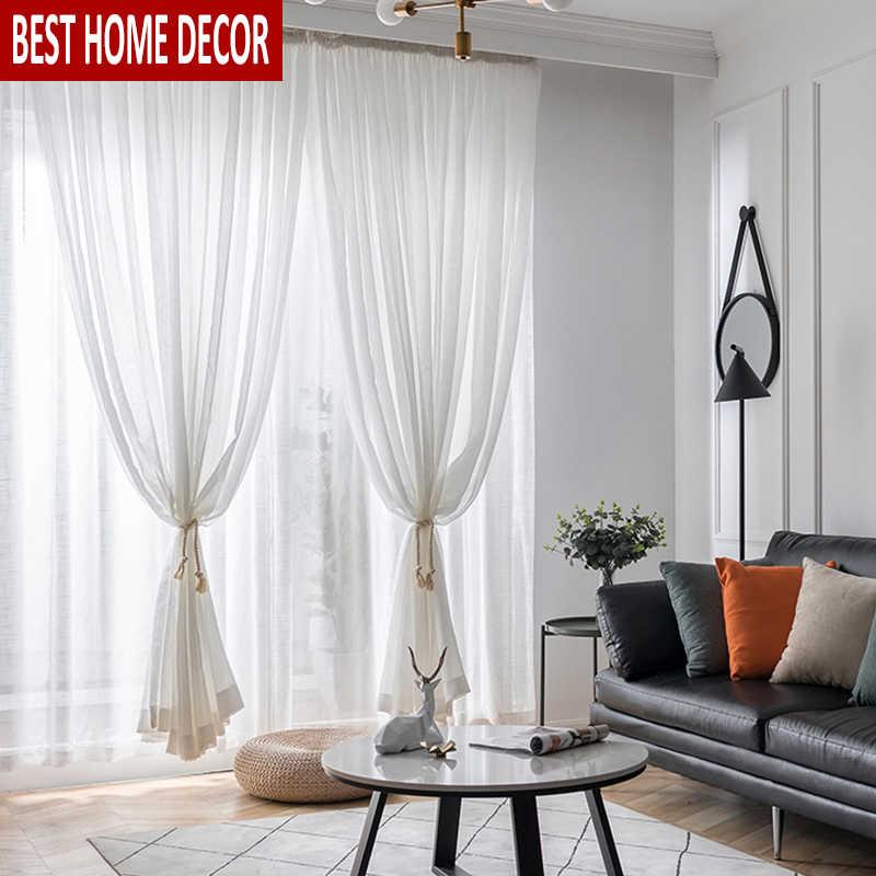 Elka Modern Linen Tulle Curtains For Living Room Bedroom In Linen Stripe Rod Pocket Sheer Kitchen Tier Sets (View 20 of 25)
