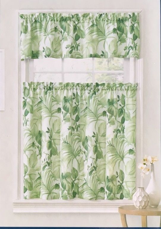 Ellery Home Pacifica Palm Tropical Tier & Valance Set Inside Coastal Tier And Valance Window Curtain Sets (Image 9 of 25)