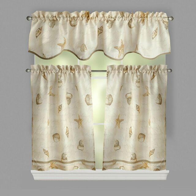 Ellery Homestyles 36 Inch Tiers And Valance Curtain Set Shells Seashells Regarding Coastal Tier And Valance Window Curtain Sets (Image 10 of 25)