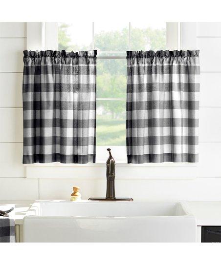 Elrene Home Fashions Black & White Buffalo Check Window Inside Grandin Curtain Valances In Black (View 19 of 25)