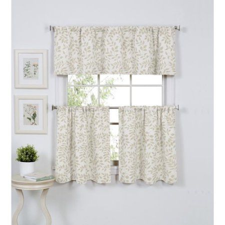 Elrene Home Fashions Serene 60'' Curtain Valance   Kitchen With Twill 3 Piece Kitchen Curtain Tier Sets (View 9 of 25)