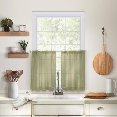 Elrene Serene Kitchen Tier Set Of 2 38964Sag – The Home Depot For Serene Rod Pocket Kitchen Tier Sets (View 10 of 25)