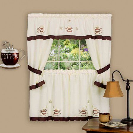 Embellished Cottage Set, Cuppa Joe, Brown | Products Within Traditional Two Piece Tailored Tier And Valance Window Curtains (View 9 of 25)
