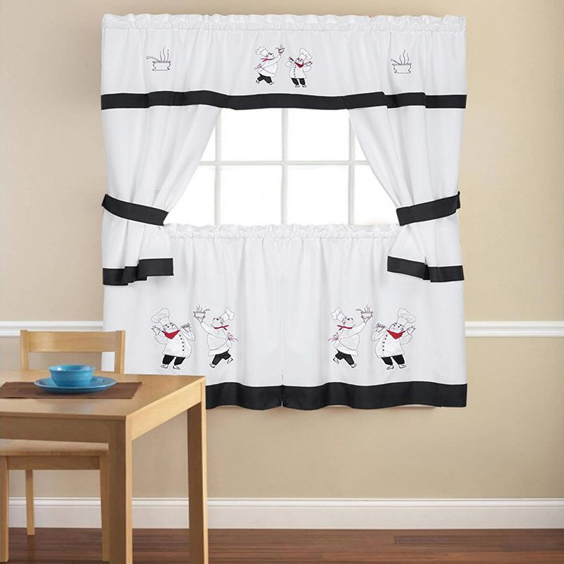 Featured Image of Embroidered Chef Black 5 Piece Kitchen Curtain Sets