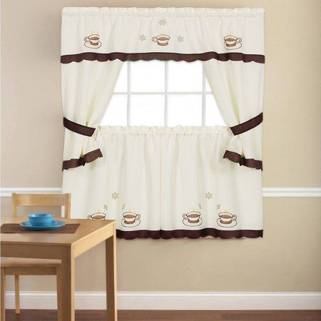Featured Image of Embroidered 'Coffee Cup' 5 Piece Kitchen Curtain Sets