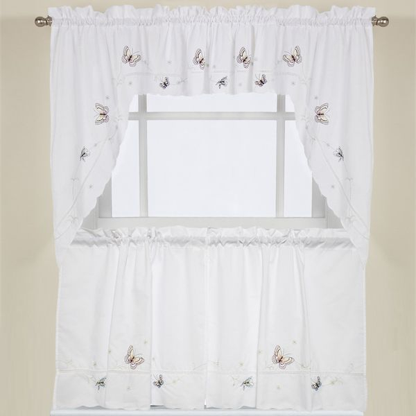 Embroidered Fluttering Butterfly Kitchen Curtains Tiers Within Grace Cinnabar 5 Piece Curtain Tier And Swag Sets (View 25 of 25)