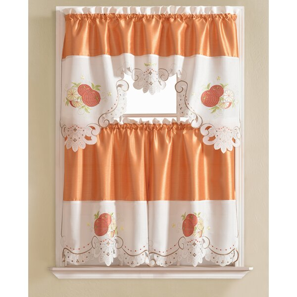 Embroidered Kitchen Curtains | Wayfair Regarding Embroidered Ladybugs Window Curtain Pieces (View 12 of 25)