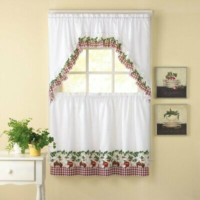 "Embroidered Ladybug Meadow Kitchen Curtains 24"" Tier, Swag Intended For Embroidered Ladybugs Window Curtain Pieces (View 15 of 25)"
