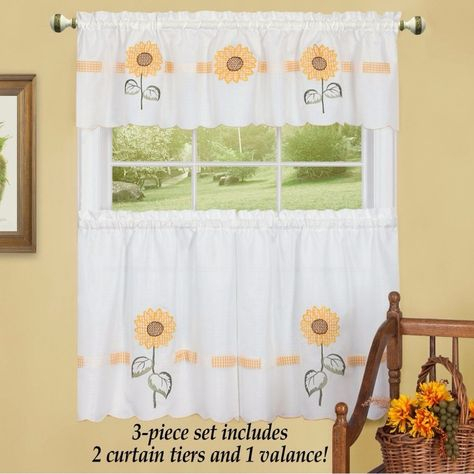 Embroidered Sunflower Blossoms Country Style Cafe Curtain Pertaining To Traditional Tailored Window Curtains With Embroidered Yellow Sunflowers (View 3 of 25)