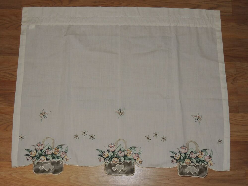 Embroidered Tulip Basket Pair Tier Curtains Ecru 60 X 24 Green Floral  Butterfly   Ebay With Regard To Hopscotch 24 Inch Tier Pairs In Neutral (Image 6 of 25)
