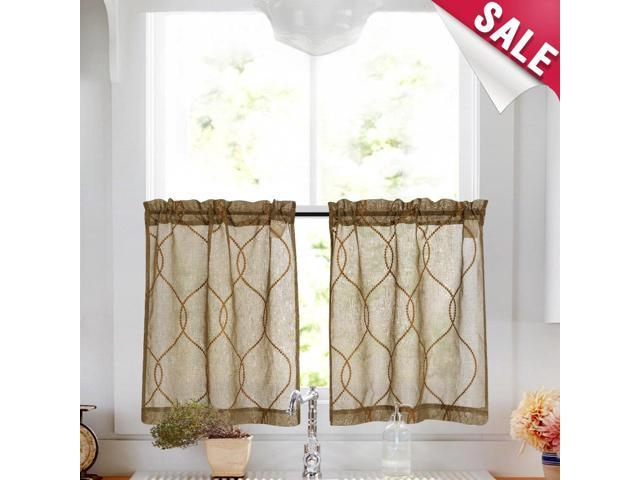 Embroidery Kitchen Curtain Sets 3 Pcs Moroccan Trellis Pattern Embroidered  Semi Sheer Kitchen Tier Curtains And Valance Set 36 Inch For Bathroom, Pertaining To Semi Sheer Rod Pocket Kitchen Curtain Valance And Tiers Sets (Image 11 of 25)