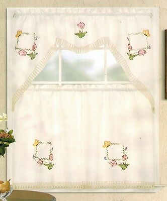 Embroidery Pink Tulip And Gold Butterfly Kitchen/cafe With Regard To Cotton Blend Ivy Floral Tier Curtain And Swag Sets (View 11 of 25)