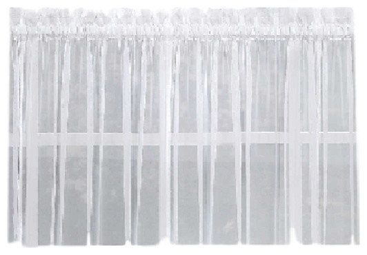 """Emelia Sheer Solid White Kitchen Curtain, 36"""" Tier Intended For Hopscotch 24 Inch Tier Pairs In Neutral (Image 7 of 25)"""