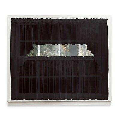 Emelia Sheer Voile Kitchen Curtain – Black Tiers, Swags, Valances – New ! |  Ebay Pertaining To Bermuda Ruffle Kitchen Curtain Tier Sets (Image 5 of 25)