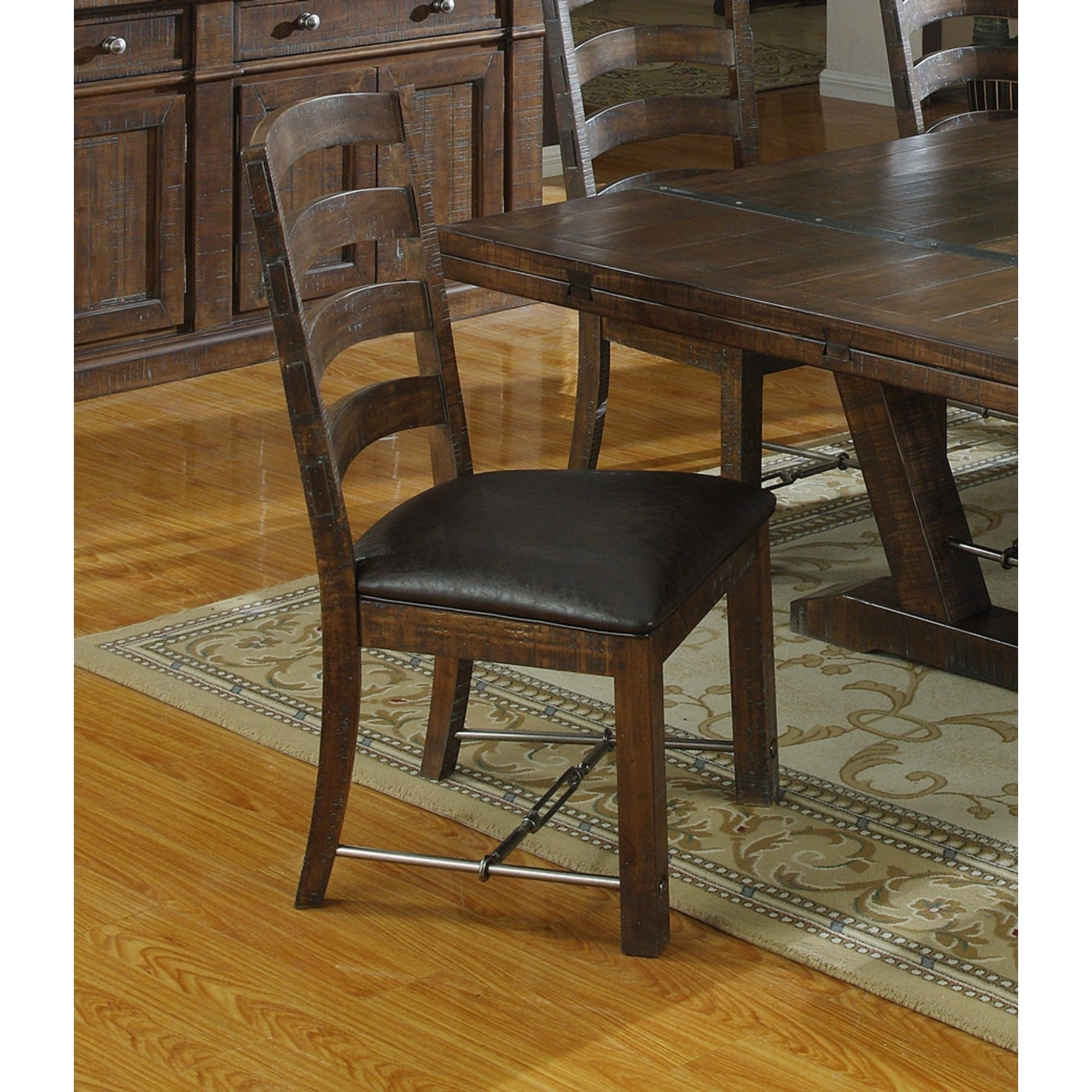 Emerald Home Castlegate Dining Chair With Bonded Leather Seat (Set Of 2) For Best And Newest Rustic Brown Lorraine Extending Dining Tables (View 21 of 25)