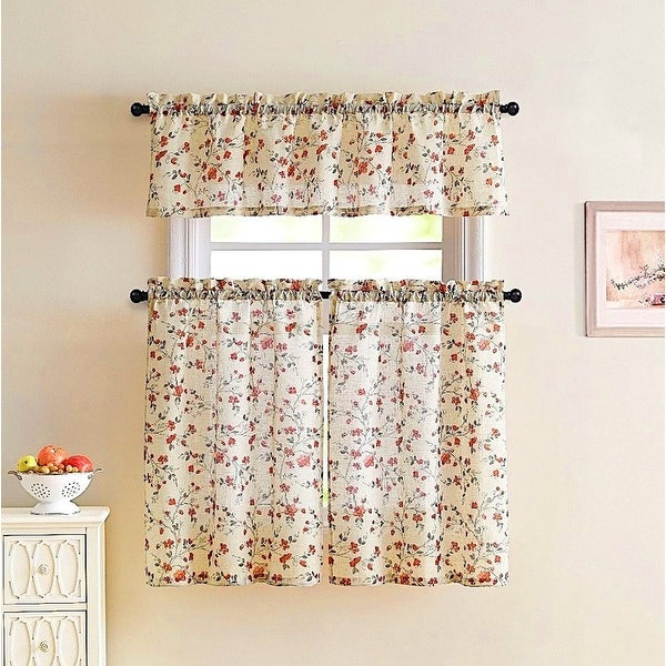 Emeria Faux Linen Sheer Floral Kitchen Curtain Set, Beige Red, 57X15 & 28X36 Inches – 28X36 Inches Intended For Floral Watercolor Semi Sheer Rod Pocket Kitchen Curtain Valance And Tiers Sets (View 16 of 25)