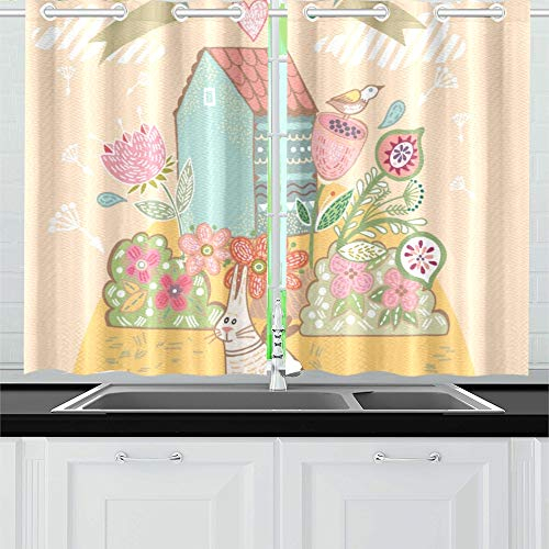 Enevotx Beautiful Sweet Home Cute Bird Kitchen Curtains Window Curtain Tiers For Café, Bath, Laundry, Living Room Bedroom 26 X 39 Inch 2 Pieces Throughout Kitchen Curtain Tiers (View 6 of 25)
