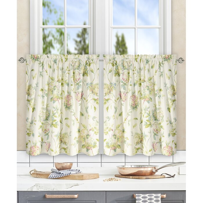 Erie Hydrangea Tier Curtain Within Twill 3 Piece Kitchen Curtain Tier Sets (View 14 of 25)