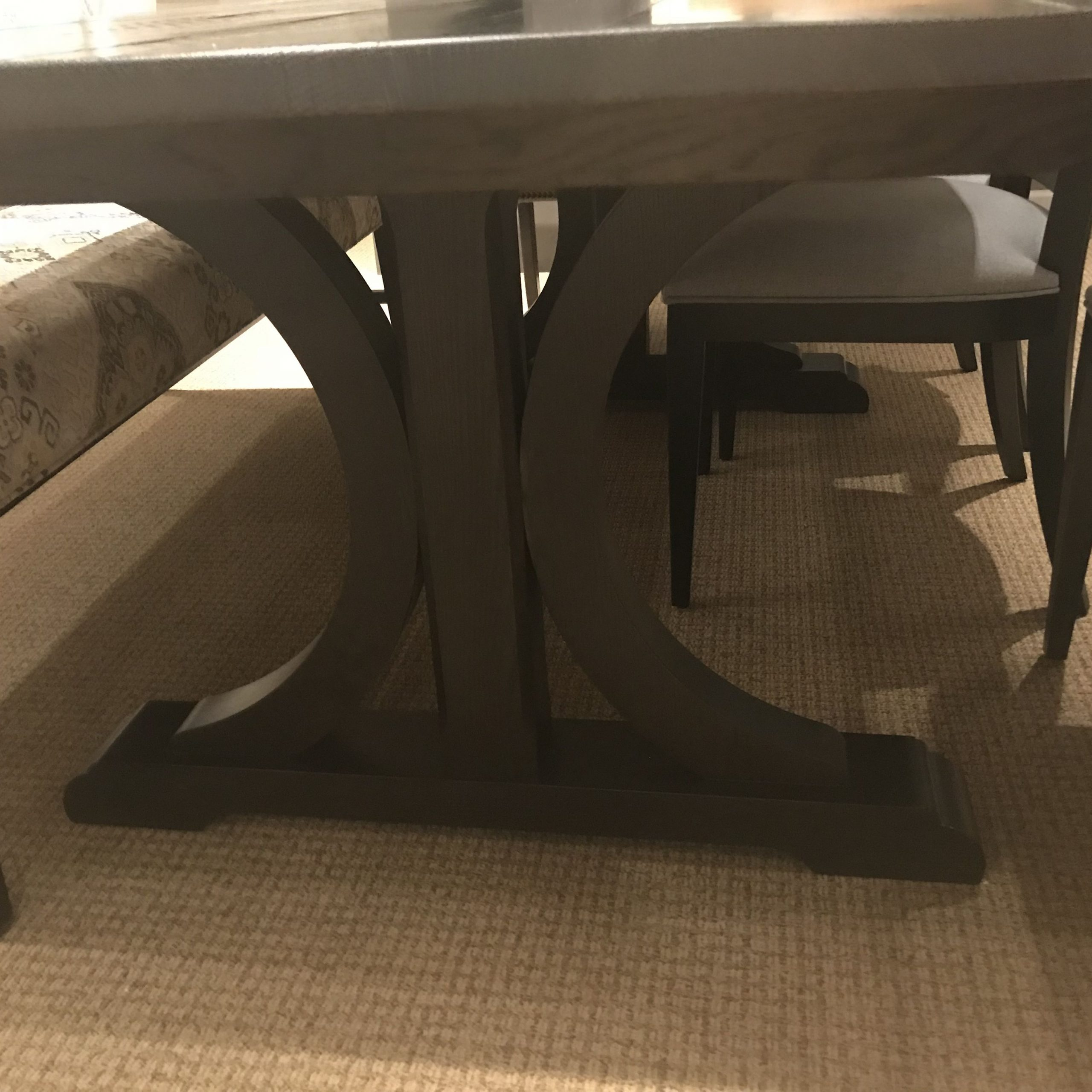 Ethan Allen – Corin Rough Sawn Trestle Extension Dining Pertaining To Current Gray Wash Livingston Extending Dining Tables (View 9 of 25)