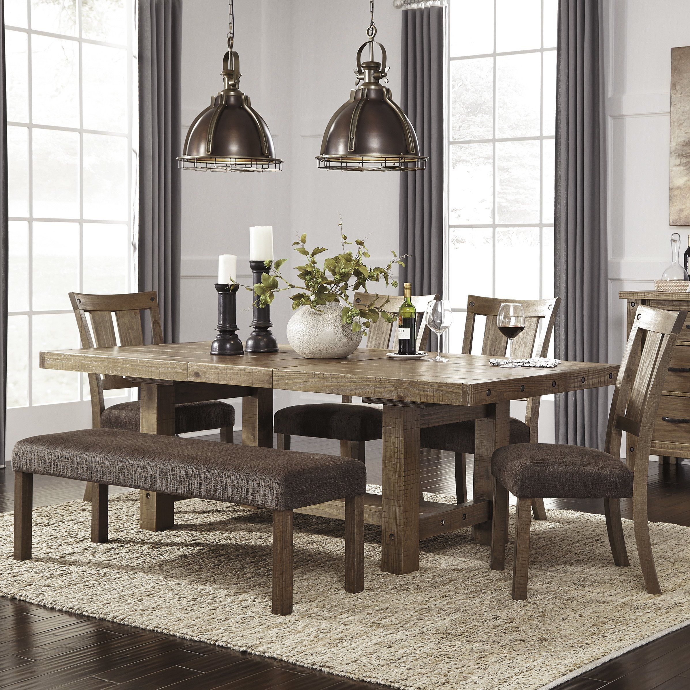 Etolin 6 Piece Extendable Dining Set | Farmhouse Dining Room In Latest Brown Wash Livingston Extending Dining Tables (View 14 of 25)