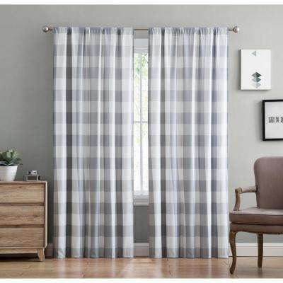 Everyday Buffalo Plaid Gray Drape Set For Classic Navy Cotton Blend Buffalo Check Kitchen Curtain Sets (View 18 of 25)