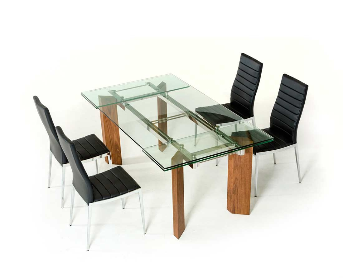 Extendable Glass Top Dining Table Vg 048 | Modern Dining With Most Up To Date Mateo Extending Dining Tables (View 20 of 25)