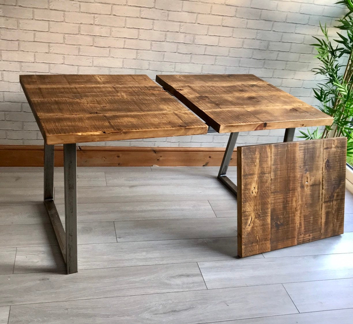 Extending Industrial Dining Table With Trapezium Legs With Regard To Most Current Faye Extending Dining Tables (View 12 of 25)