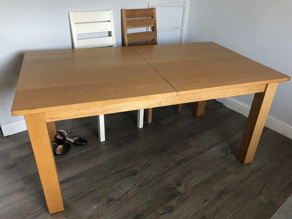Extending Solid Hard Wood Dining Table In Good Condition (View 14 of 25)