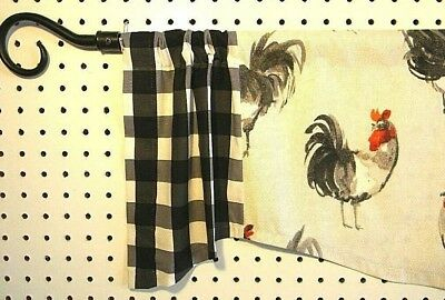 Farm House Roosters~Red~Gray~Black~Buffalo Check~Valance Intended For Barnyard Buffalo Check Rooster Window Valances (View 26 of 26)
