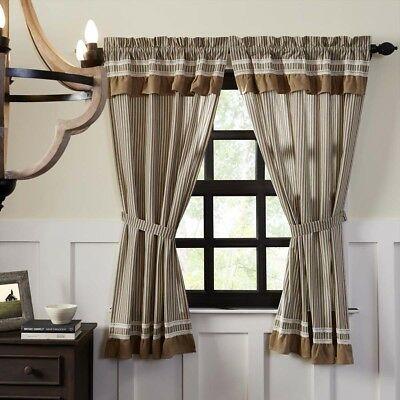 Farmhouse Curtains Vhc Kendra Stripe Panel Pair Rod Pocket Cotton Striped |  Ebay For Farmhouse Stripe Kitchen Tier Pairs (Image 9 of 25)