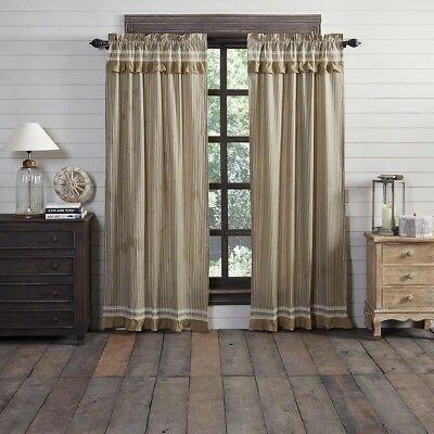 Farmhouse Curtains Vhc Kendra Stripe Panel Pair Rod Pocket Cotton Striped |  Ebay For Farmhouse Stripe Kitchen Tier Pairs (Image 8 of 25)
