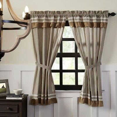 Farmhouse Curtains Vhc Kendra Stripe Panel Pair Rod Pocket Cotton Striped   Ebay With Regard To Rod Pocket Cotton Striped Lace Cotton Burlap Kitchen Curtains (View 14 of 25)