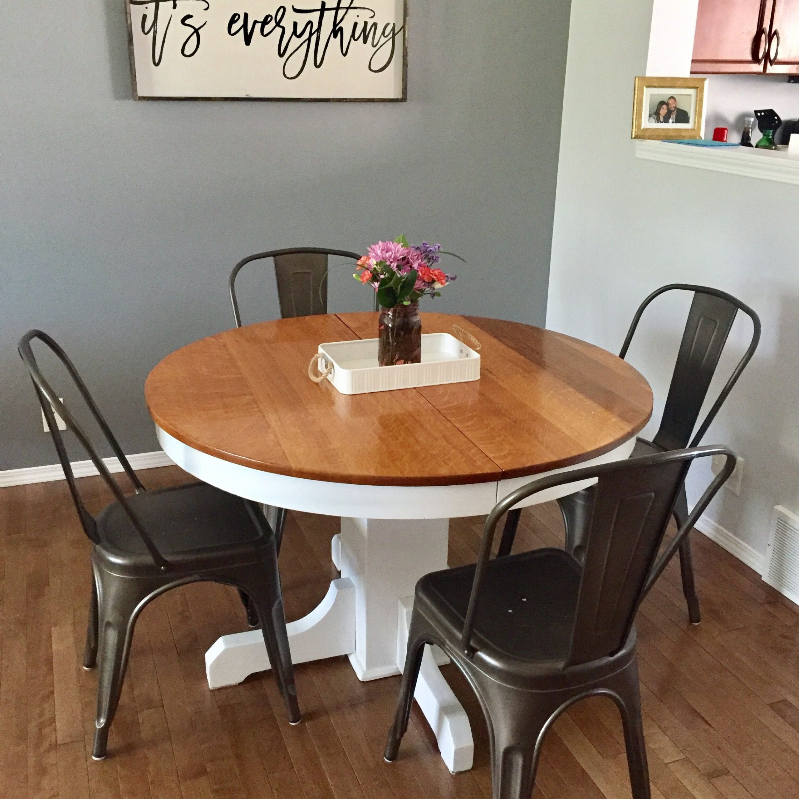 Farmhouse Dining Table Wooden Sign Refinished Table Vintage Regarding Most Popular Antique White Shayne Drop Leaf Kitchen Tables (View 23 of 25)